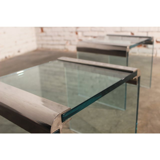 Pace Chrome & Glass Waterfall Side Tables - Pair - Image 4 of 10