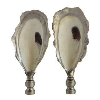 Silver Rimmed Oyster Shell Lamp Finials - a Pair For Sale