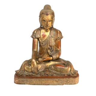 Mid-20th Century Asian Antique Life Size Seated Wooden Mandalay Buddha