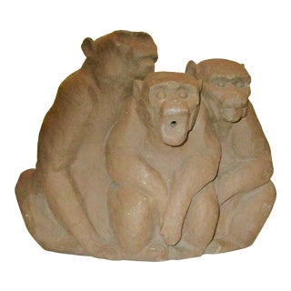 Water Fountain in Stoneware Three Monkeys For Sale