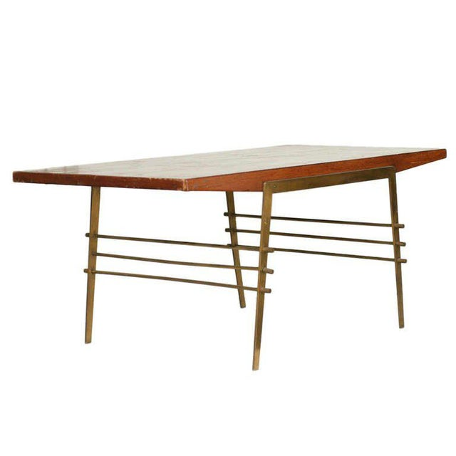 Superb MidCentury Oak Coffee Table With Brass Architectural Base - Mid century oak coffee table