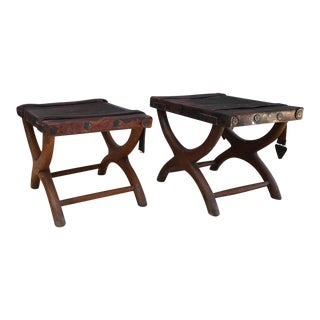 1940s Rustic Spanish Colonial Curule Bench - a Pair For Sale