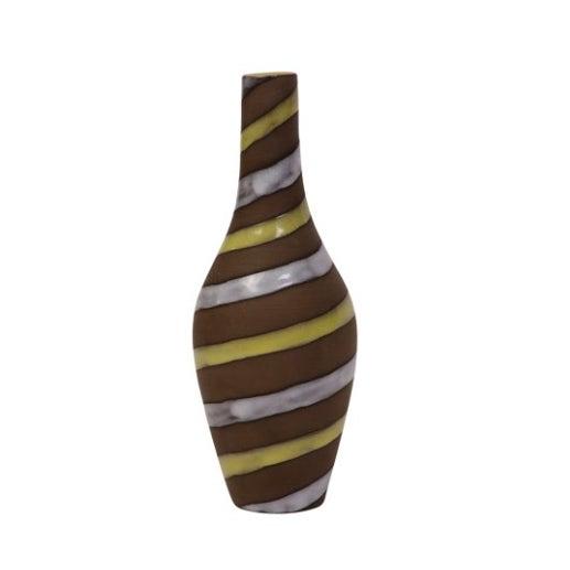 Mid-Century Swedish Striped Mocha Vase - Image 2 of 3
