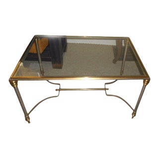 20th Century Maison Jansen Glass Brass Table For Sale
