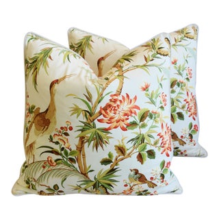 "Chinoiserie Floral Birds & Crane Feather/Down Pillows 24"" Square - Pair For Sale"