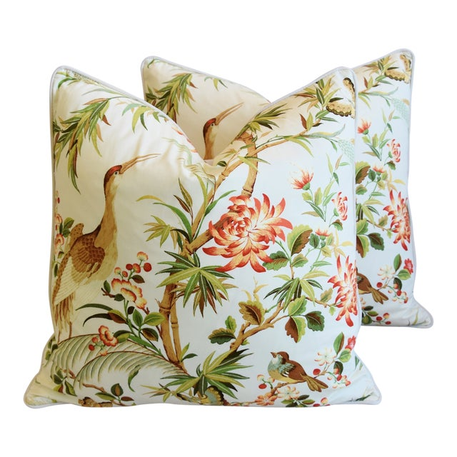 """Chinoiserie Floral Birds & Crane Feather/Down Pillows 24"""" Square - Pair For Sale"""