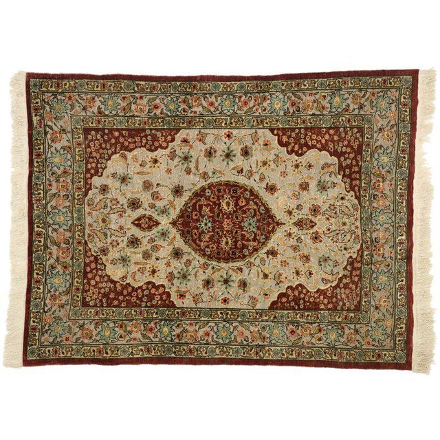 Early 20th Century Antique Turkish Silk and Gold Hereke Rug - 3′4″ × 4′5″ For Sale - Image 4 of 5