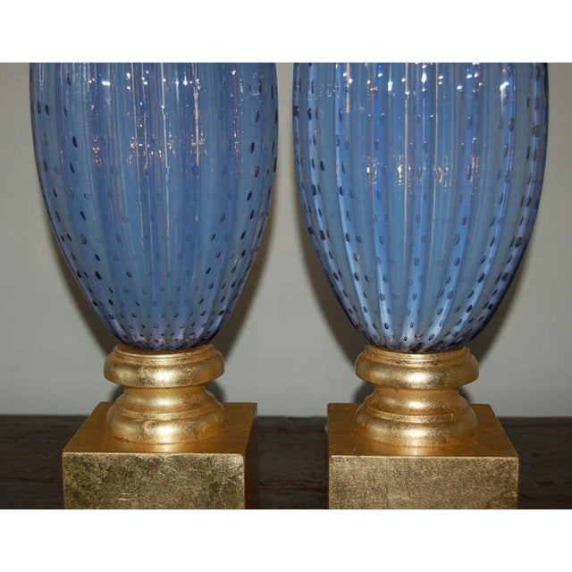 1950s Vintage Murano Opaline Glass Table Lamps Lavender For Sale - Image 5 of 10