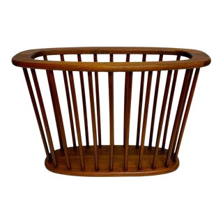 Danish Modern Oval Spindle Teak Magazine Rack For Sale