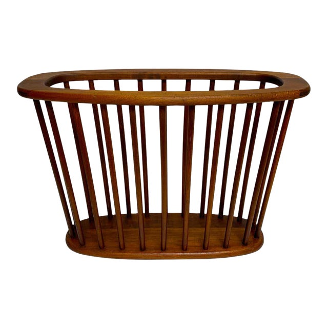 Danish Modern Oval Spindle Teak Magazine Rack For Sale