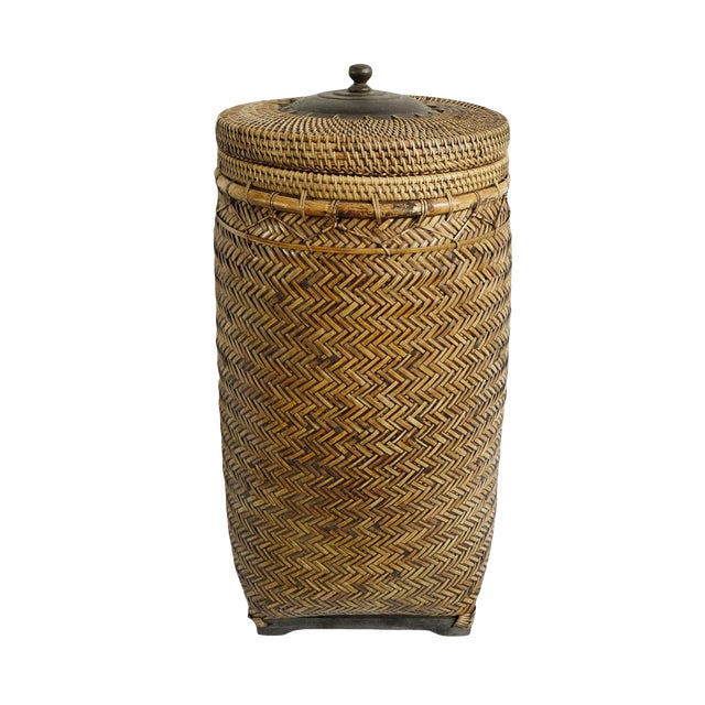 Bamboo Basket With Lid For Sale