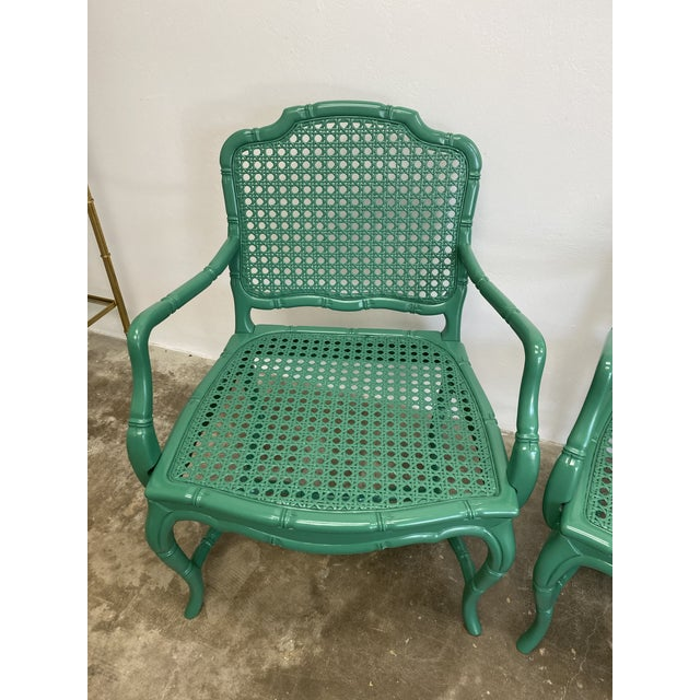 French Vintage Green Lacquered Cane Chairs - a Pair For Sale - Image 3 of 13