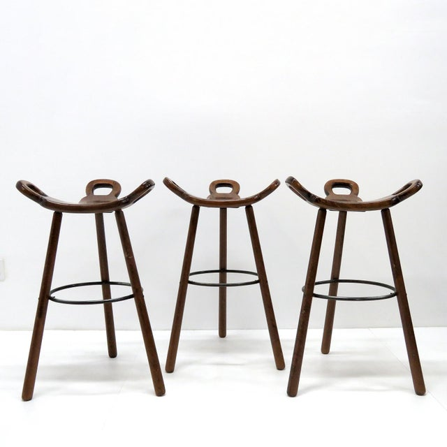 "1970s Vintage Confonorm Brutalist ""Marbella"" Bar Stools- Set of 3 For Sale - Image 9 of 11"