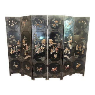 Late 19th Century Chinese Qing Dynasty Commodore Black Lacquer Screen For Sale