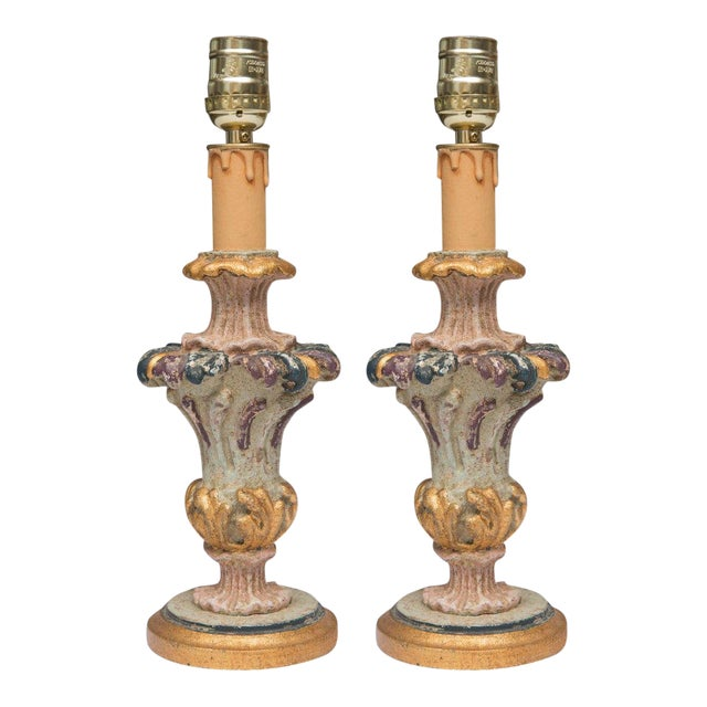 Gold Hand-Painted and Parcel-Gilt Italian Candlesticks as Lamps - Pair For Sale - Image 8 of 8