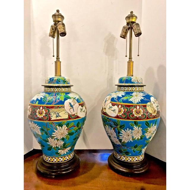 Metal Pair 19th Century Majolica Longwy Lamps For Sale - Image 7 of 8