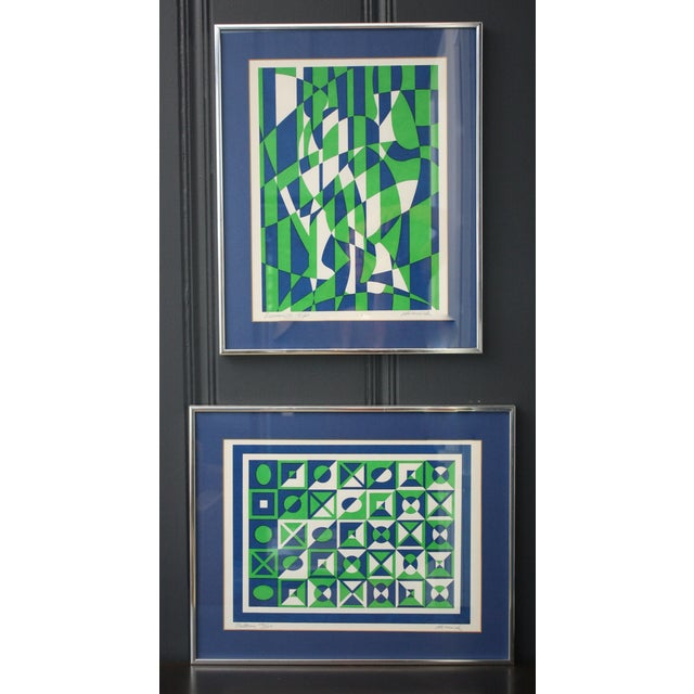 1970s Op Art Blue and Green Serigraphs - A Pair - Image 2 of 11