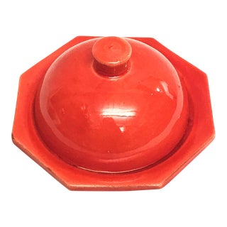 Hand Painted Red Moroccan Ceramic Serving Dish For Sale
