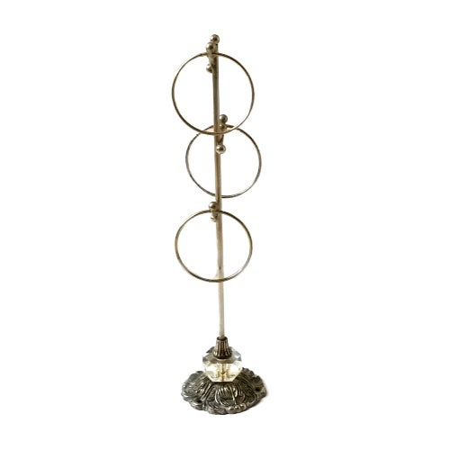 Mid 20th Century Vintage Mid Century Hollywood Regency Brass & Crystal Glove Stand Holder For Sale - Image 5 of 5
