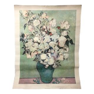 1957 Vintage Vincent Van Gogh White Roses Canvas Lithograph Print For Sale
