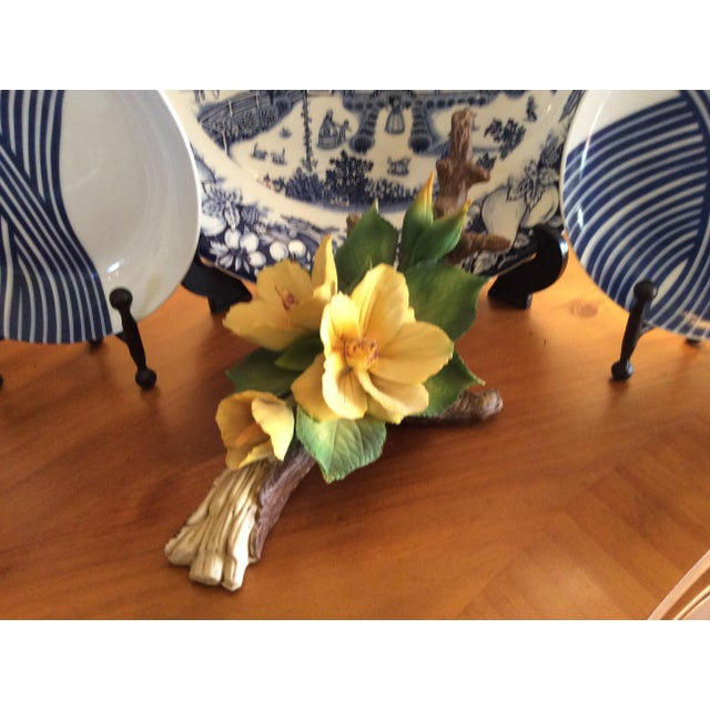 Vintage Capodimonte Flower in Yellow For Sale - Image 9 of 10