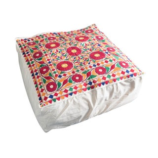 1970s Vintage Indian Embroidered Red Flower Floor Cushion Cube Pouf For Sale