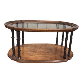 Drexel Burl Wood & Faux Bamboo Coffee Table For Sale