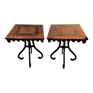 Pair of Mid-Century Modern John Widdicomb Inlaid End Tables or Lamp Tables