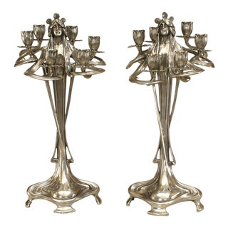 Art Nouveau Silvered Pewter Candelabra- A Pair For Sale