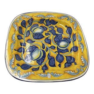 Hand Painted Italian Square Platter with Lemons