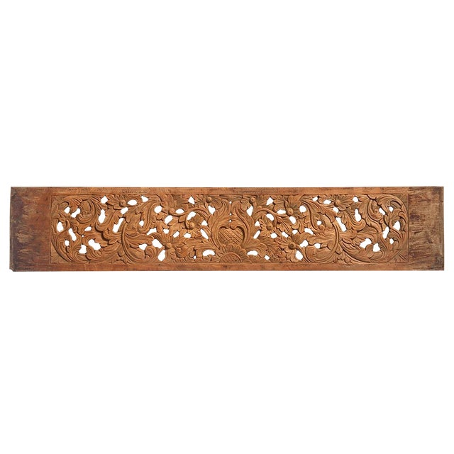 Decorative Teak Carved Panel For Sale