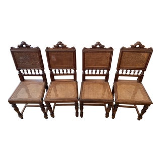 Vintage Mid Century Cane Chairs- Set of 4 For Sale