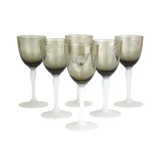 Vintage Smoke Glass Cordial Stems - Set of 6