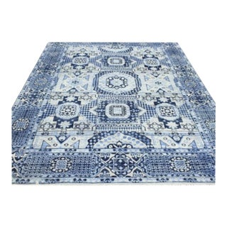 """Mamluk Style Hand-Knotted Transitional Geometric Navy and Ivory White Eclectic Rug - 9'2"""" X 12' For Sale"""