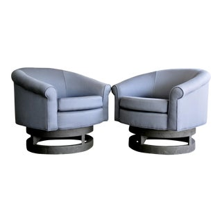 Newly Upholstered Swivel Chairs in the Style of Adrian Pearsall, a Pair For Sale