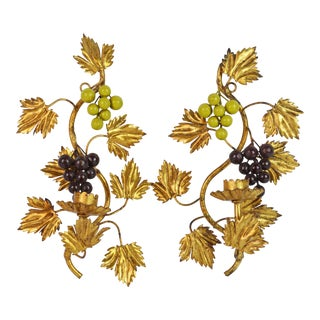Pair of Midcentury Italian Gilt Tole Wall Sconces With Grapes For Sale