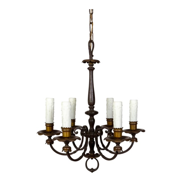 Renaissance Revival Six-Light Candlestick Chandelier For Sale