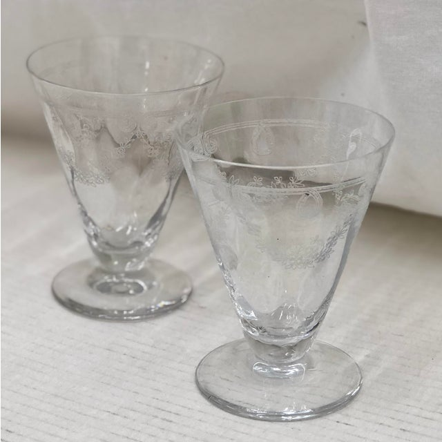 Antique Etched Goblets For Sale In Raleigh - Image 6 of 6