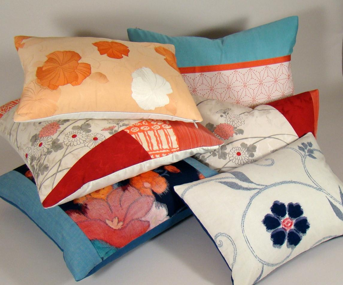 Vintage Japanese Silk Obi Pillow Cover Poppies