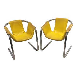 Modern Tubular Chrome Sling Armchairs - a Pair
