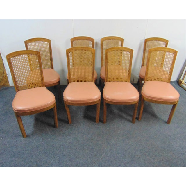 Set of 8 Drexel Heritage Mid Century Modern Dining Chairs, Fruitwood frames with Caned backs , Slip upholstered seats