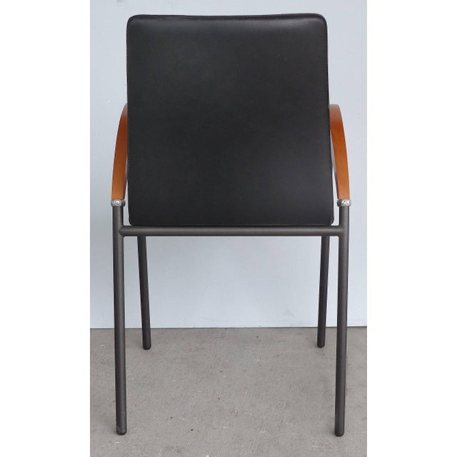 Modern Xo Design Metal and Wood Armchairs With Full Grain Leather Seats For Sale - Image 3 of 9