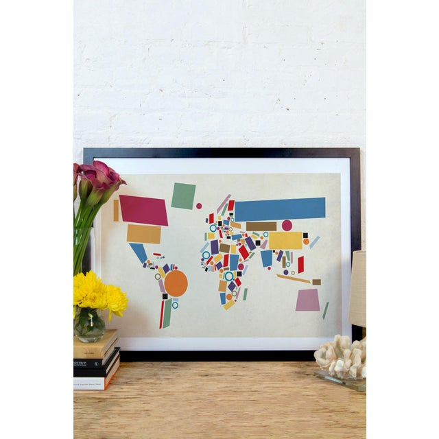 Abstract Geometric World Map by Michael Tompsett - Image 3 of 3