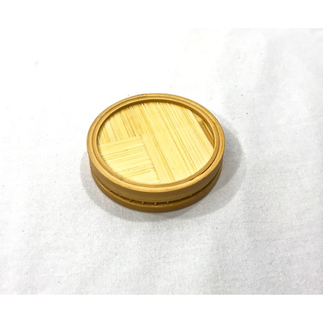Vintage Bamboo Pasta Dinner Coasters - Set of 5 For Sale - Image 5 of 6