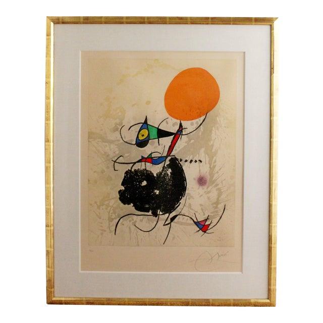 Modern Miro Terre Atteinte Et Soleil Intact Color Etching Aquatint 16/50 COA '73 For Sale