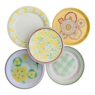 1970s Mismatched Floral Salad Plates - Set of 5 For Sale