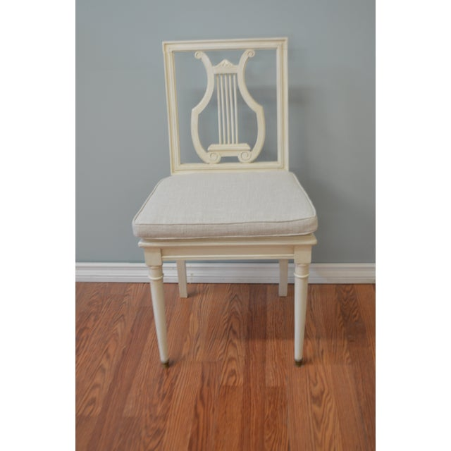 Wood Gustavian Style Painted Lyre Back Dining Chairs With Cane Seat & Linen Seat Cushions - Set of 6 For Sale - Image 7 of 9