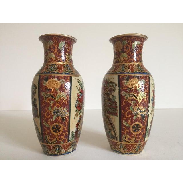 Vintage Satsuma Style Japanese Ceramic Gold Leaf Vases A Pair