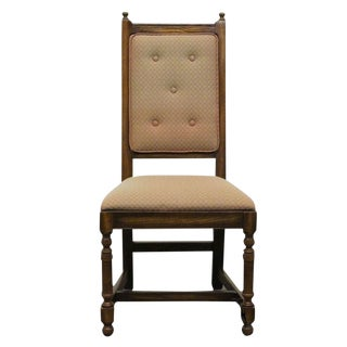 Late 20th Century Vintage Pennsylvania House English Oak Jacobean Style High Back Side Chair For Sale