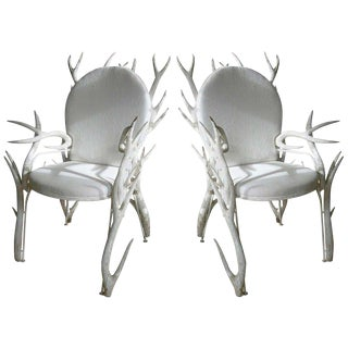 Pair of Faux Antler Armchairs of Carved Wood For Sale